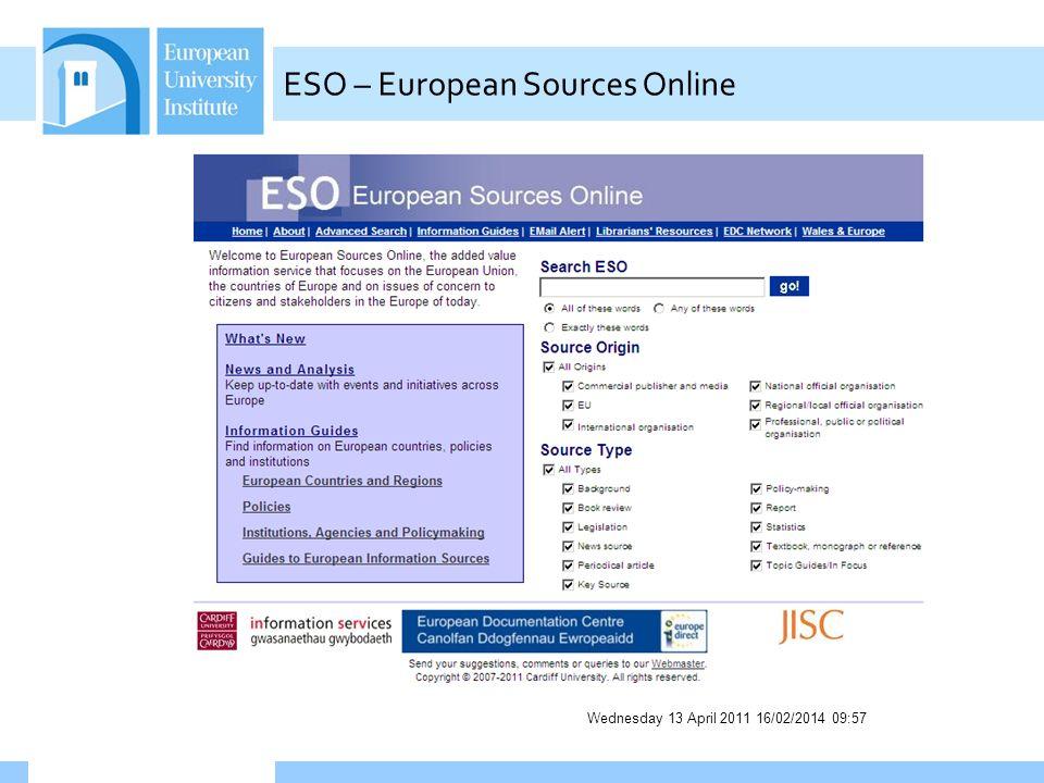 Wednesday 13 April 2011 16/02/2014 09:58 ESO – European Sources Online
