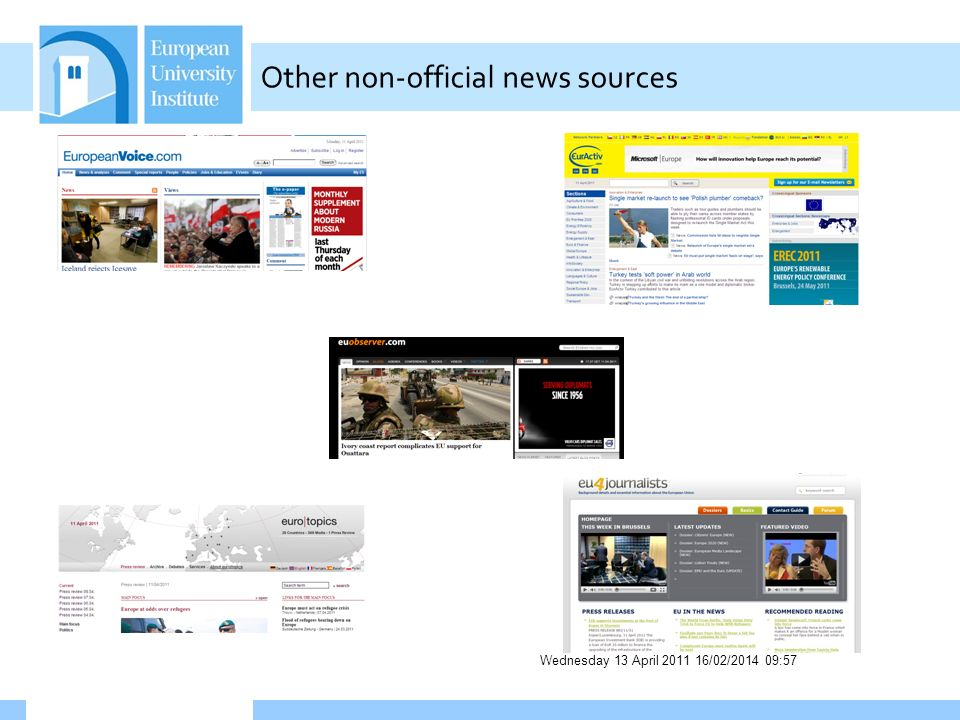 Wednesday 13 April 2011 16/02/2014 09:58 Other non-official news sources