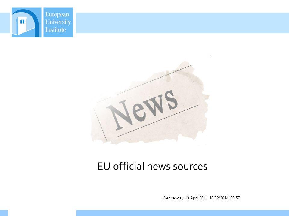 Wednesday 13 April 2011 16/02/2014 09:58 EU official news sources