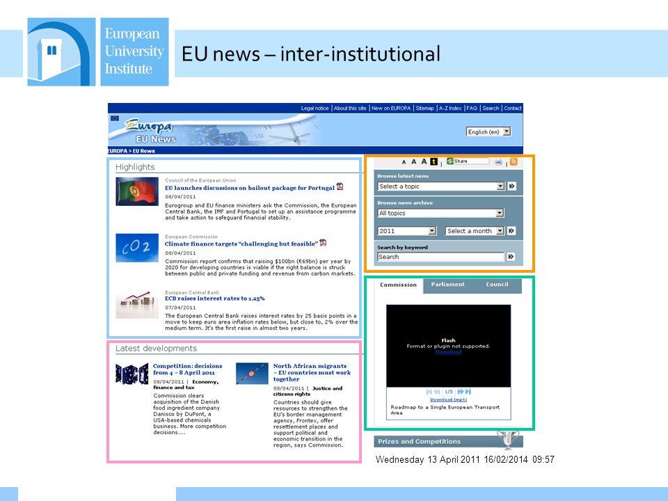 Wednesday 13 April 2011 16/02/2014 09:58 EU news – inter-institutional