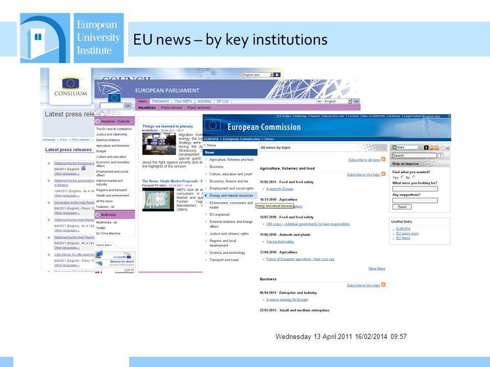 Wednesday 13 April 2011 16/02/2014 09:58 EU news – by key institutions
