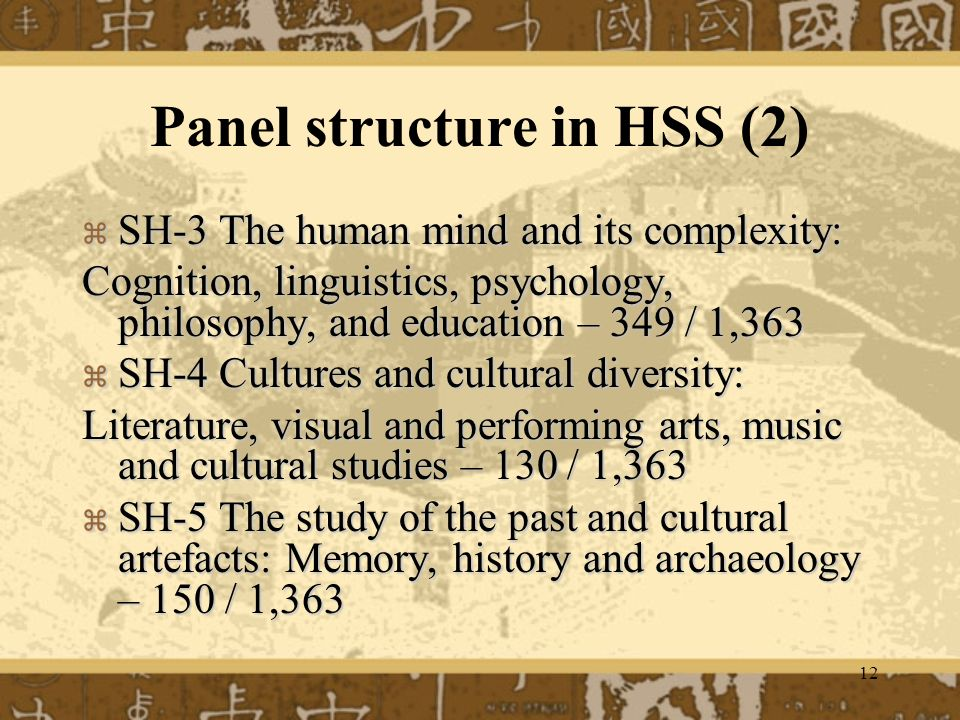12 Panel structure in HSS (2) SH-3 The human mind and its complexity: SH-3 The human mind and its complexity: Cognition, linguistics, psychology, philosophy, and education – 349 / 1,363 SH-4 Cultures and cultural diversity: SH-4 Cultures and cultural diversity: Literature, visual and performing arts, music and cultural studies – 130 / 1,363 SH-5 The study of the past and cultural artefacts: Memory, history and archaeology – 150 / 1,363 SH-5 The study of the past and cultural artefacts: Memory, history and archaeology – 150 / 1,363