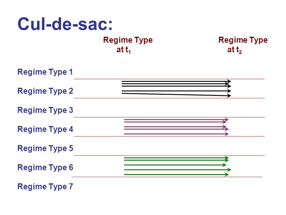 Cul-de-sac: Regime Type at t 1 at t 2 Regime Type 1 Regime Type 2 Regime Type 3 Regime Type 4 Regime Type 5 Regime Type 6 Regime Type 7