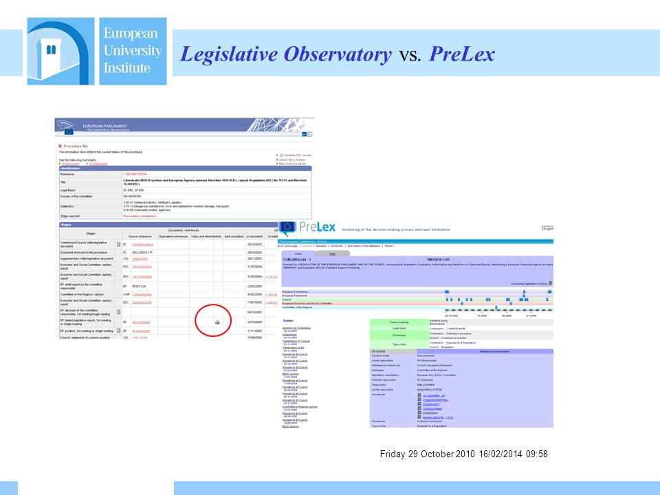 Friday 29 October /02/ :59 Legislative Observatory vs. PreLex