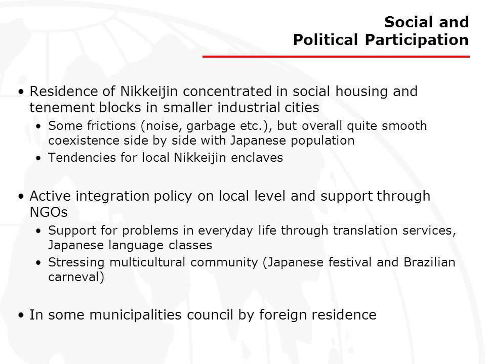 Social and Political Participation Residence of Nikkeijin concentrated in social housing and tenement blocks in smaller industrial cities Some frictio
