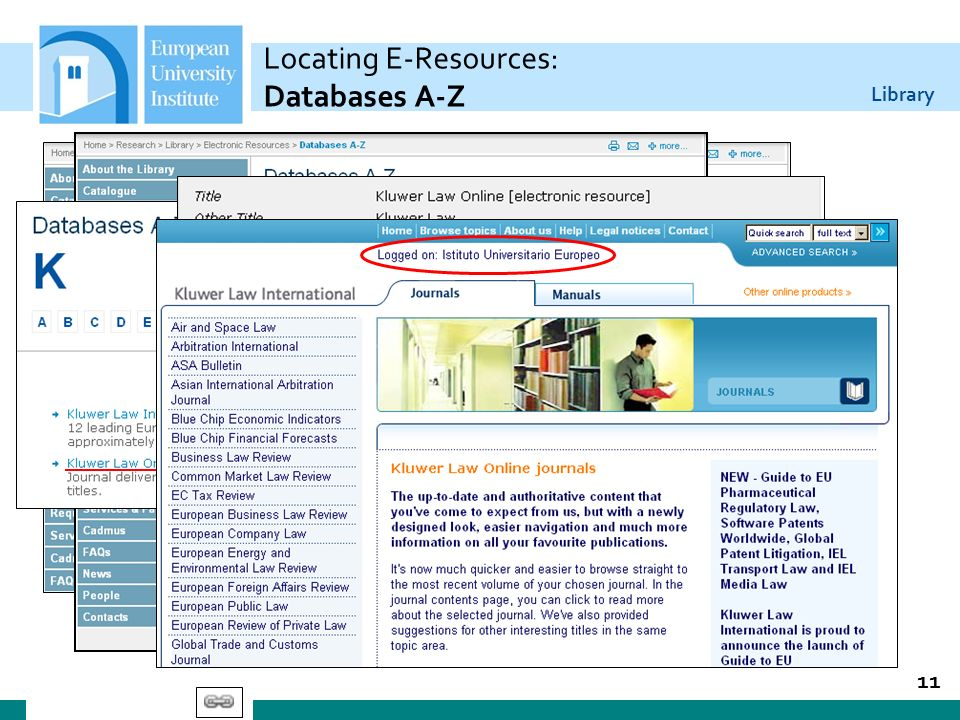 Library 11 Locating E-Resources: Databases A-Z