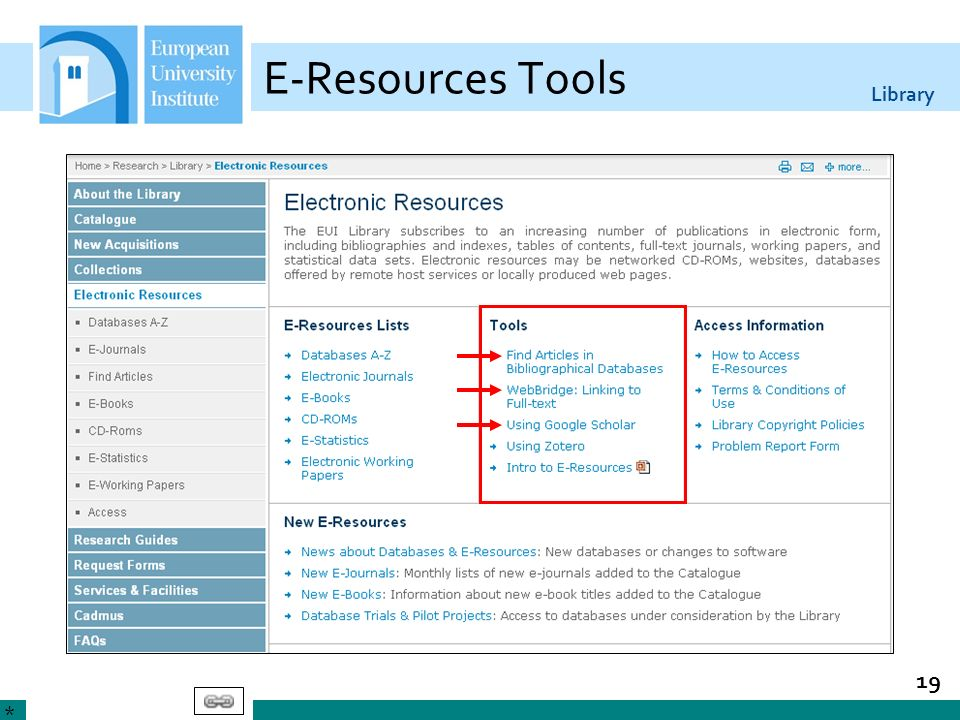 Library 19 E-Resources Tools *
