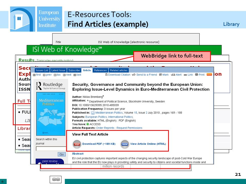 Library 21 E-Resources Tools: Find Articles (example) * WebBridge link to full-text