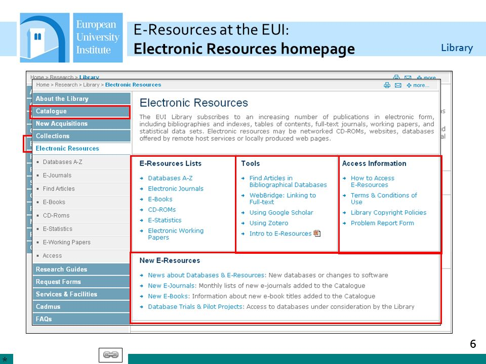 Library 6 E-Resources at the EUI: Electronic Resources homepage *