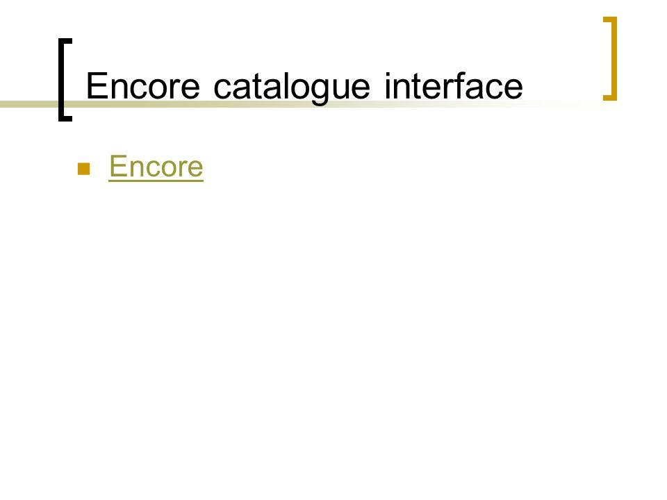 Encore catalogue interface Encore