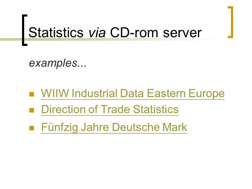 Statistics via CD-rom server examples...