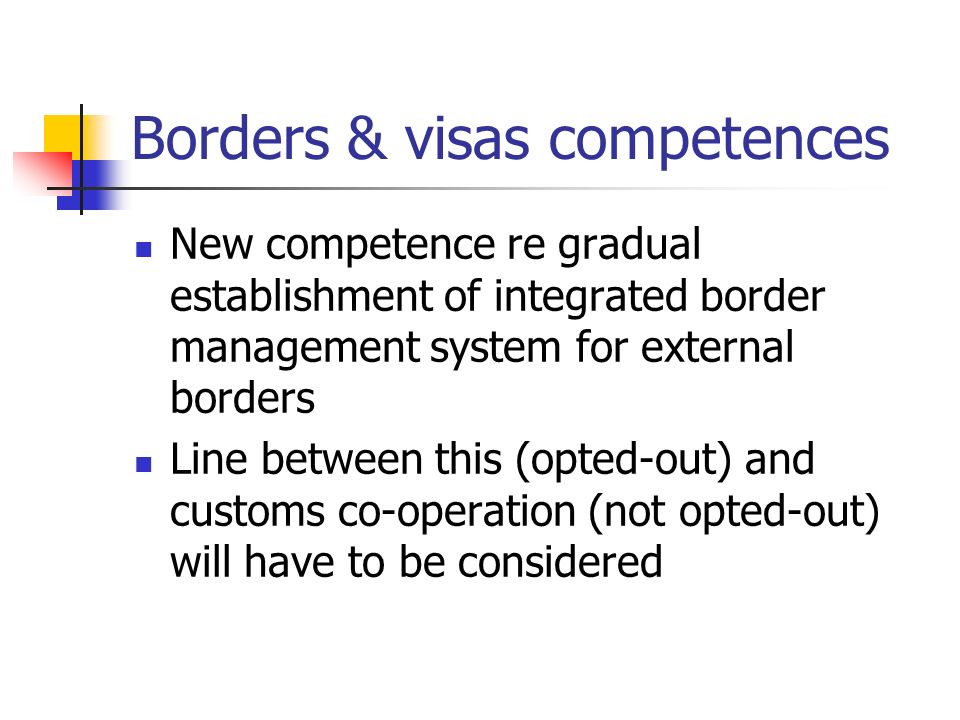 Borders & visas competences New competence re gradual establishment of integrated border management system for external borders Line between this (opted-out) and customs co-operation (not opted-out) will have to be considered