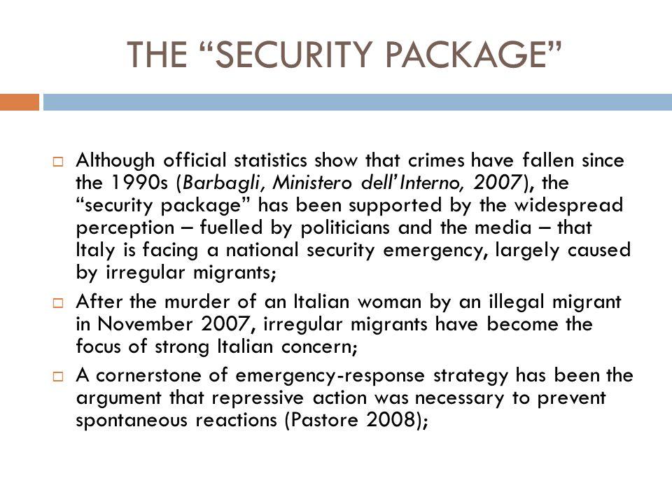 THE SECURITY PACKAGE Legislative Decree no.