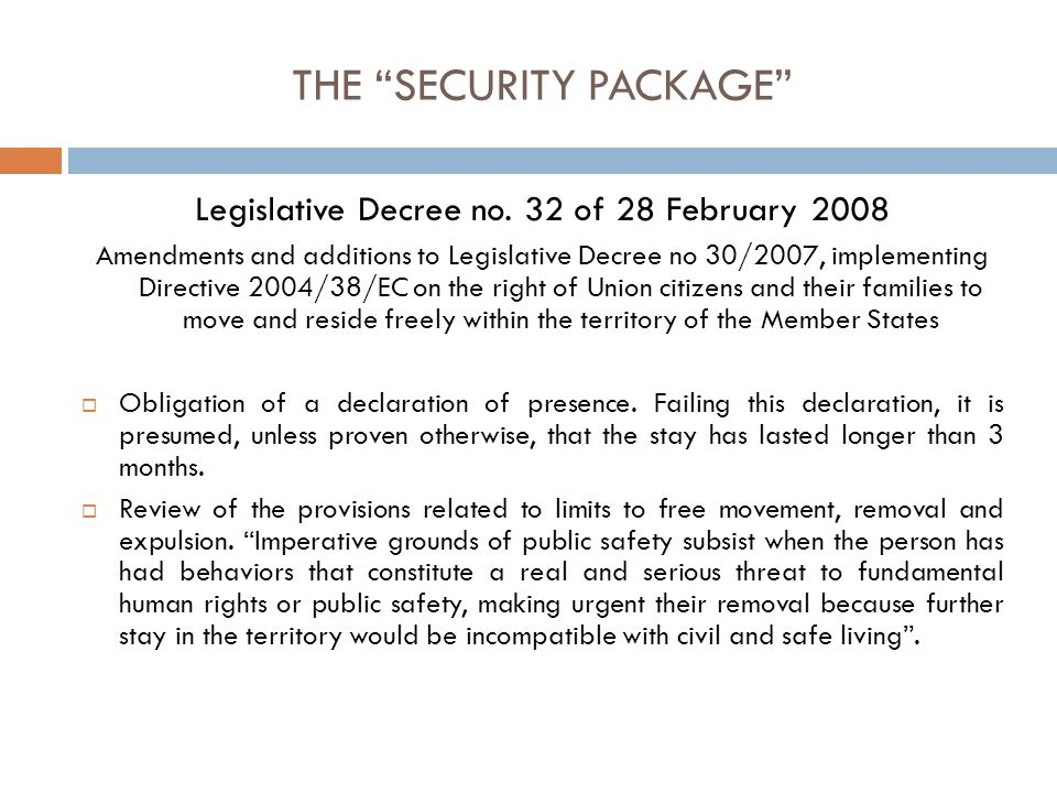 THE SECURITY PACKAGE the introduction of an integration agreement and integration requirements Article 4-bis provides that when submitting an application for a residence permit, the foreigner must sign an integration agreement, articulated though credits, thus committing him/herself to share specific integration objectives to be achieved during the whole time of validity of the residence permit.