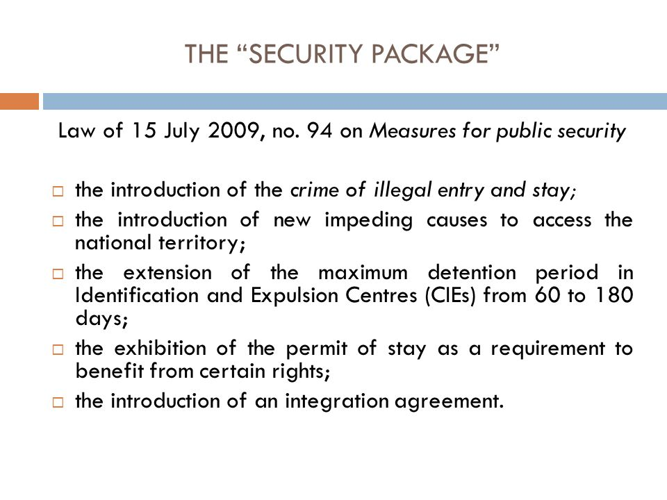THE SECURITY PACKAGE Law of 15 July 2009, no.