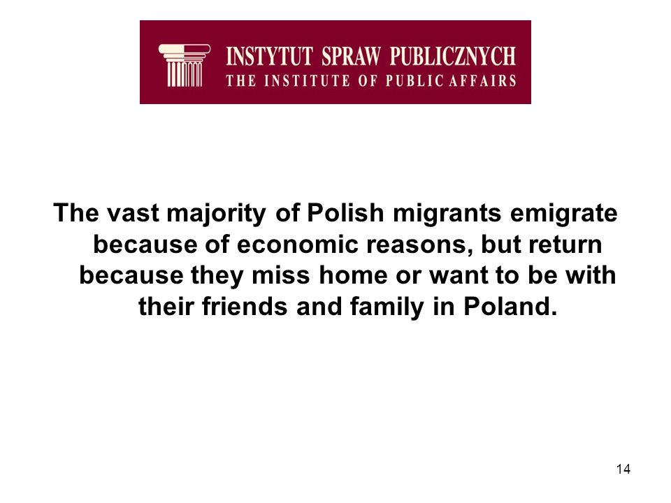 14 The vast majority of Polish migrants emigrate because of economic reasons, but return because they miss home or want to be with their friends and family in Poland.