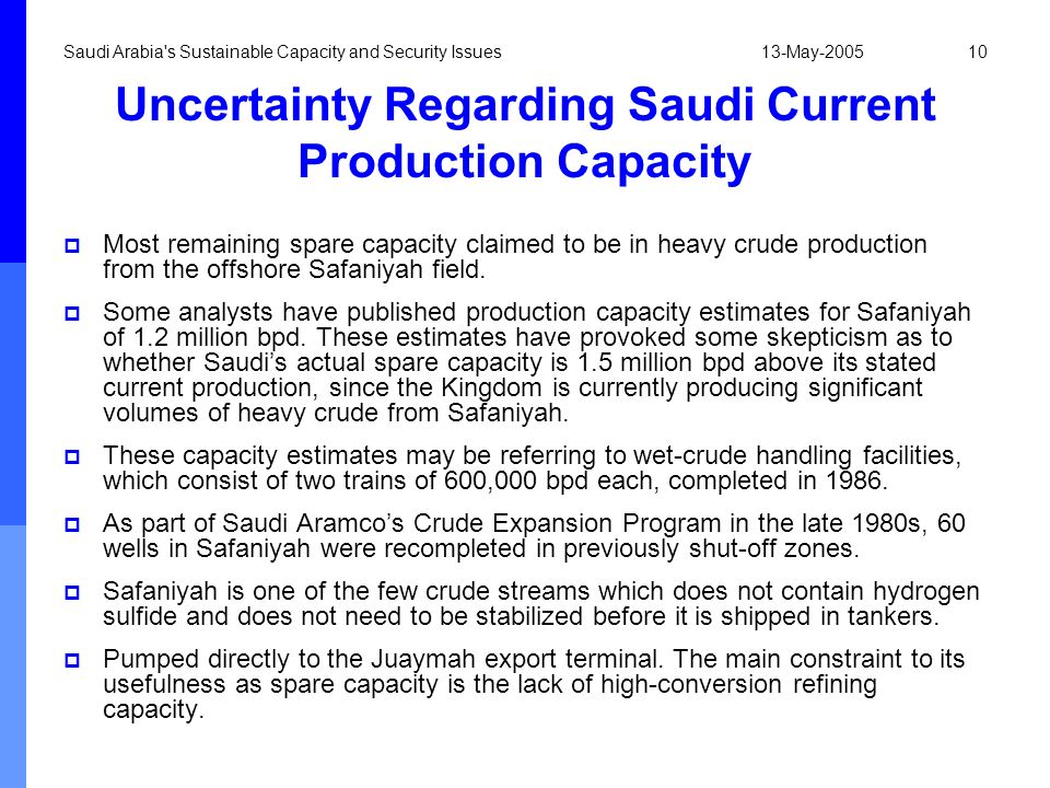 13-May-2005Saudi Arabia's Sustainable Capacity and Security Issues10 Uncertainty Regarding Saudi Current Production Capacity Most remaining spare capa