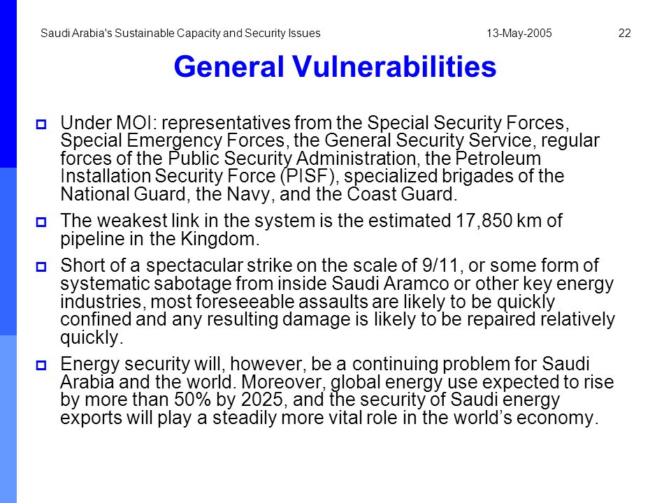 13-May-2005Saudi Arabia's Sustainable Capacity and Security Issues22 General Vulnerabilities Under MOI: representatives from the Special Security Forc
