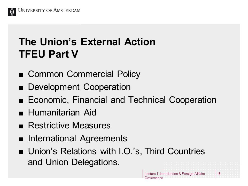 The Unions External Action TFEU Part V Common Commercial Policy Development Cooperation Economic, Financial and Technical Cooperation Humanitarian Aid