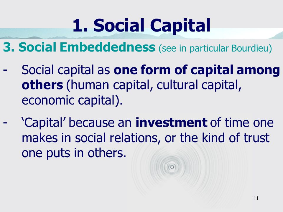 11 1. Social Capital 3. Social Embeddedness (see in particular Bourdieu) -Social capital as one form of capital among others (human capital, cultural