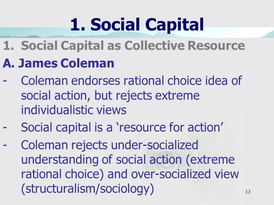 13 1. Social Capital 1.Social Capital as Collective Resource A.