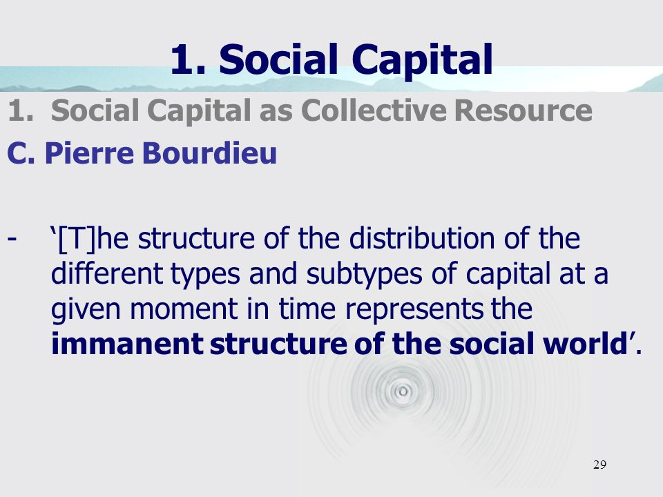 29 1. Social Capital 1.Social Capital as Collective Resource C.