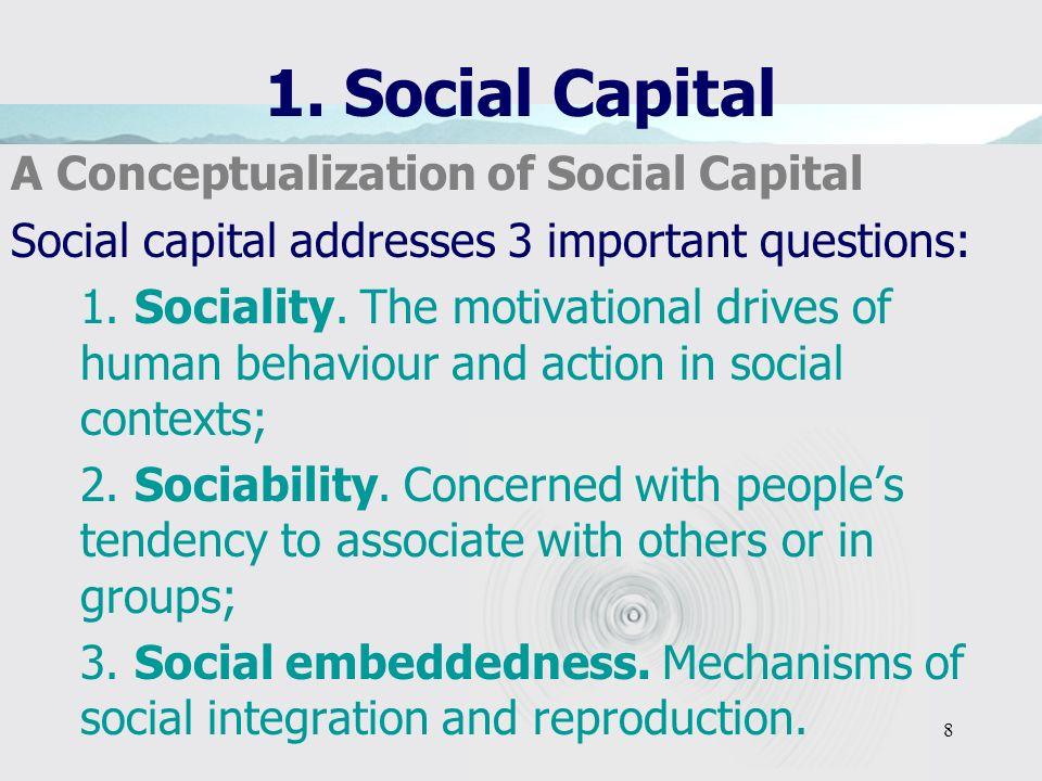 8 1. Social Capital A Conceptualization of Social Capital Social capital addresses 3 important questions: 1. Sociality. The motivational drives of hum