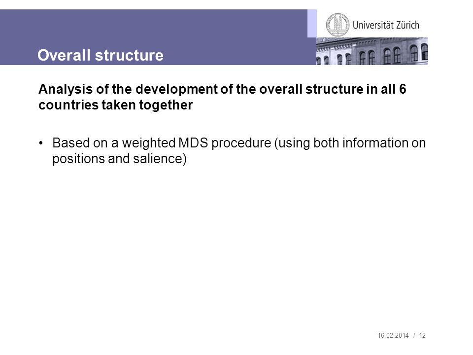 16.02.2014 / 12 Analysis of the development of the overall structure in all 6 countries taken together Based on a weighted MDS procedure (using both information on positions and salience) Overall structure