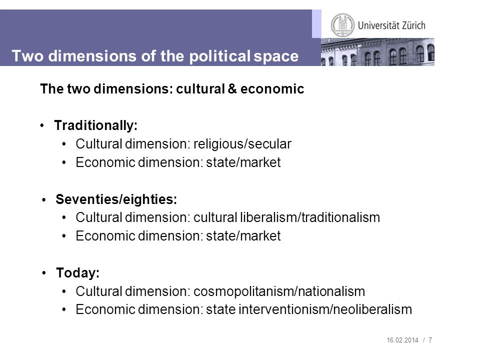 / 7 The two dimensions: cultural & economic Traditionally: Cultural dimension: religious/secular Economic dimension: state/market Seventies/eighties: Cultural dimension: cultural liberalism/traditionalism Economic dimension: state/market Today: Cultural dimension: cosmopolitanism/nationalism Economic dimension: state interventionism/neoliberalism Two dimensions of the political space