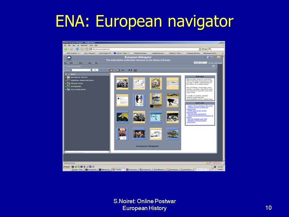 S.Noiret: Online Postwar European History10 ENA: European navigator