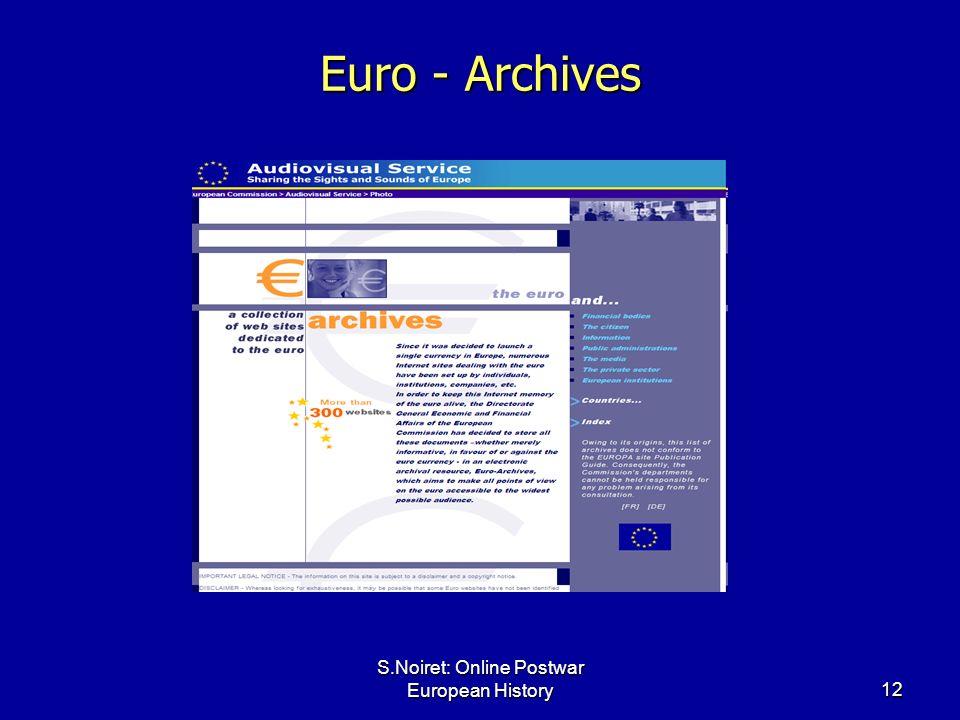 S.Noiret: Online Postwar European History12 Euro - Archives