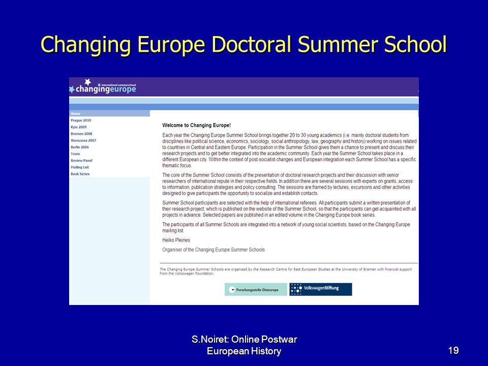 S.Noiret: Online Postwar European History19 Changing Europe Doctoral Summer School