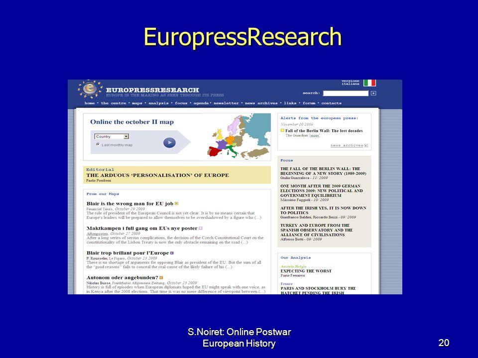 S.Noiret: Online Postwar European History20 EuropressResearch