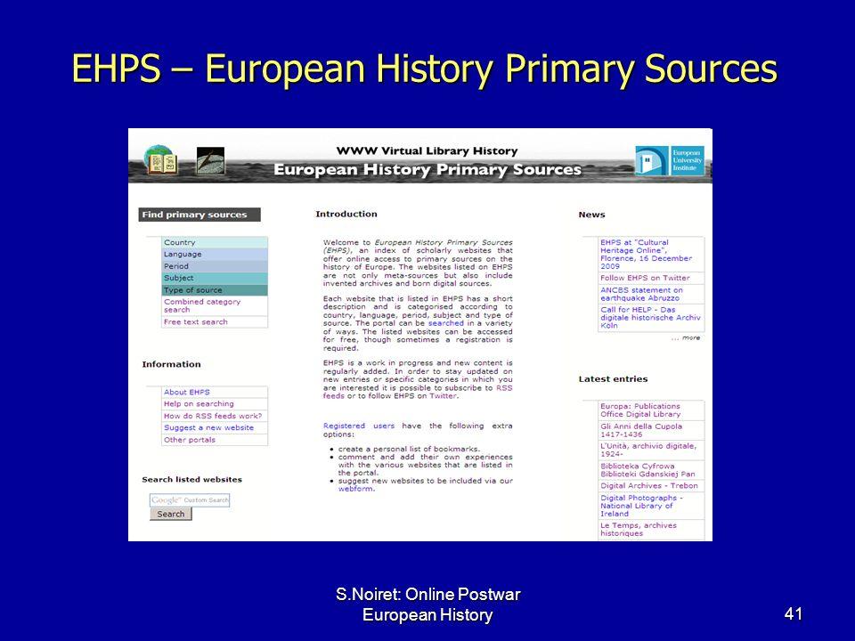 S.Noiret: Online Postwar European History41 EHPS – European History Primary Sources