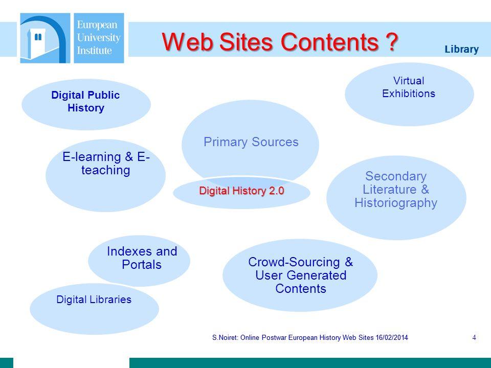 Library S.Noiret: Online Postwar European History Web Sites 16/02/2014 European Archive S.Noiret: Online Postwar European History Web Sites 16/02/201415 The European Archive is a digital library of cultural artifacts in digital form.