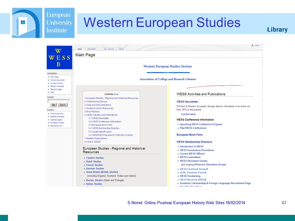 Library S.Noiret: Online Postwar European History Web Sites 16/02/2014 Western European Studies S.Noiret: Online Postwar European History Web Sites 16/02/201443