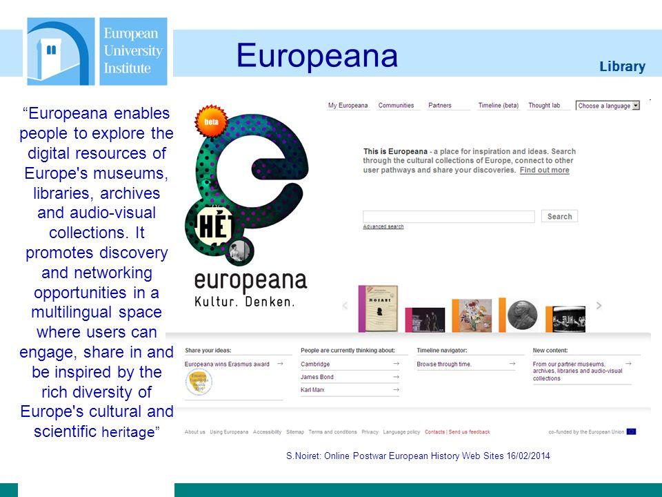 Library S.Noiret: Online Postwar European History Web Sites 16/02/2014 ViFaOst S.Noiret: Online Postwar European History Web Sites 16/02/201439 As a Virtual Library for Eastern Europe, ViFaOst is an interdisciplinary portal for East European Studies.