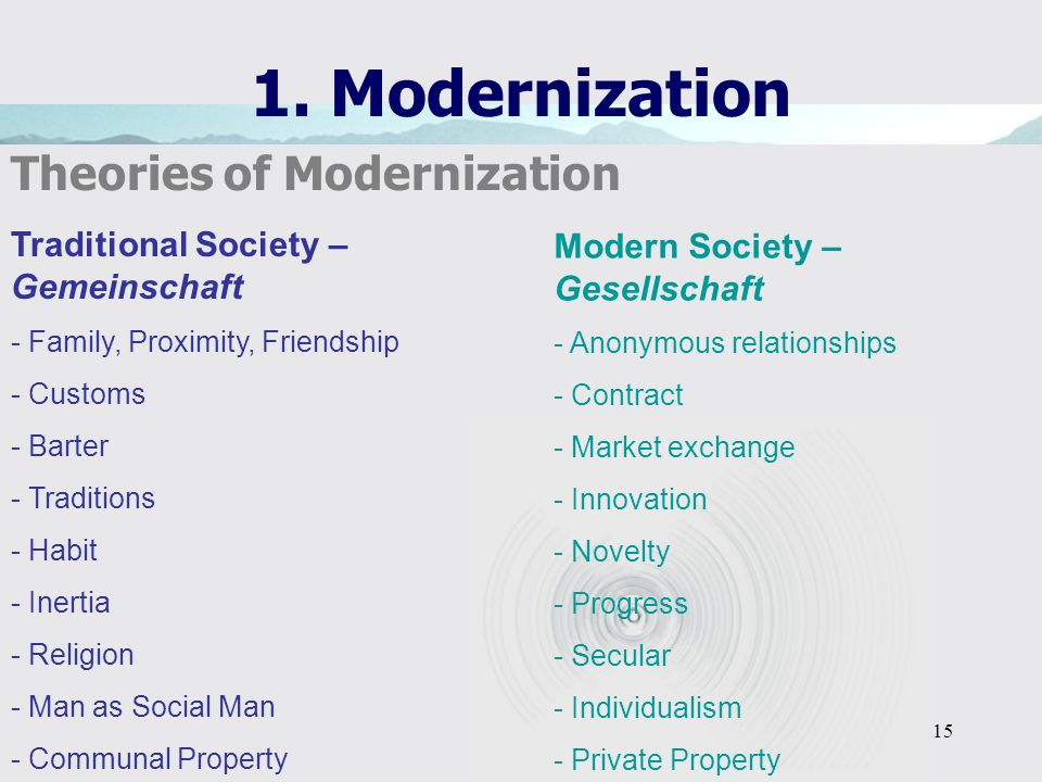15 1. Modernization Theories of Modernization Traditional Society – Gemeinschaft - Family, Proximity, Friendship - Customs - Barter - Traditions - Hab