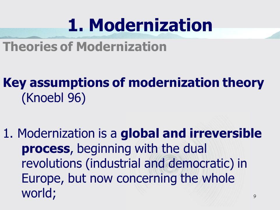 9 1. Modernization Theories of Modernization Key assumptions of modernization theory (Knoebl 96) 1.