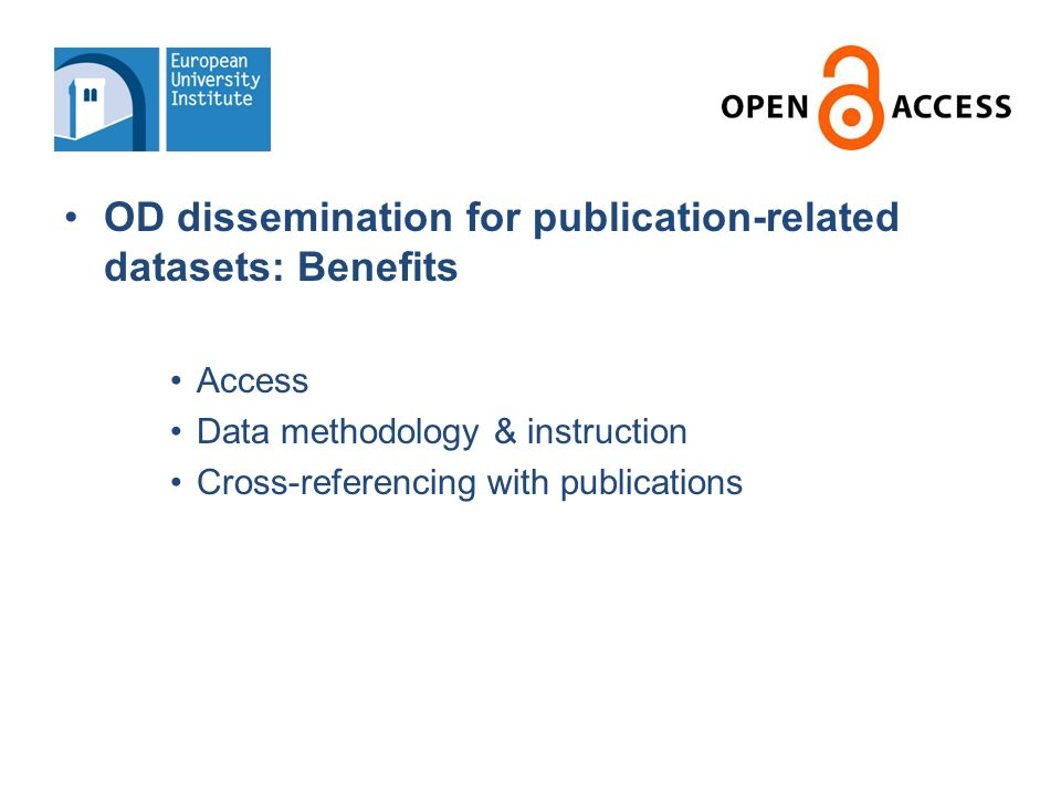 OD dissemination for publication-related datasets: Some caveats.