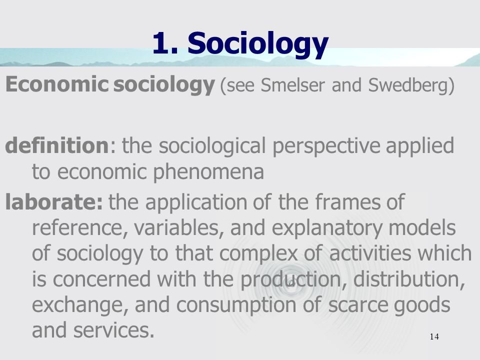 13 1. Sociology Key concepts of sociology classes/social groups integration, solidarity, cohesion, trust deviance, disintegration, divergence, conflic