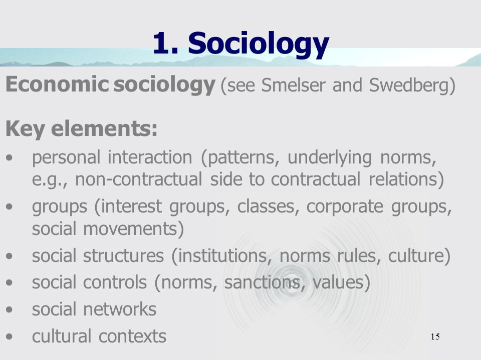 14 1. Sociology Economic sociology (see Smelser and Swedberg) definition: the sociological perspective applied to economic phenomena laborate: the app