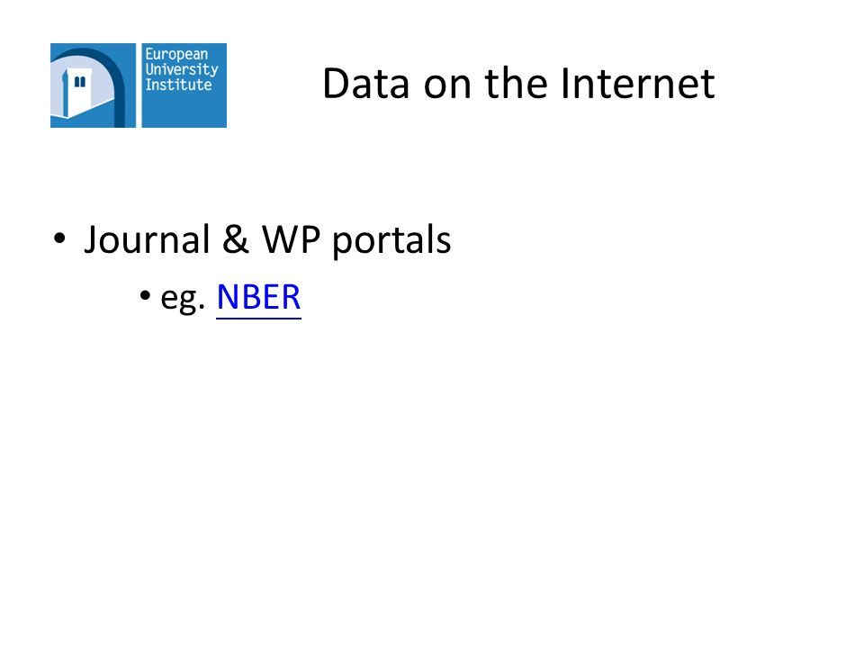 Data on the Internet Journal & WP portals eg. NBERNBER