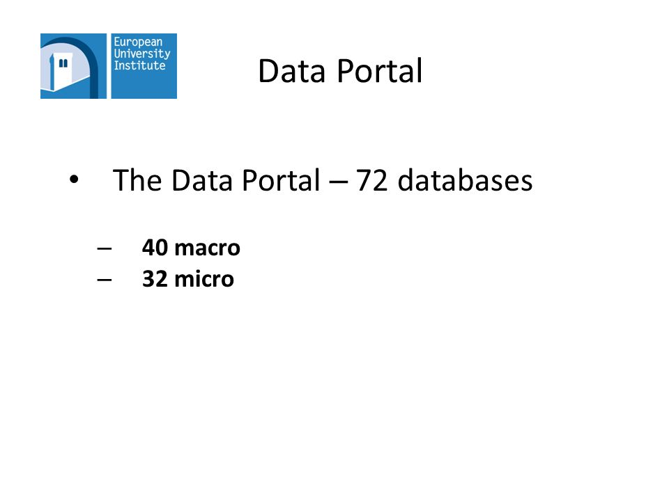 Data Portal The Data Portal – 72 databases – 40 macro – 32 micro