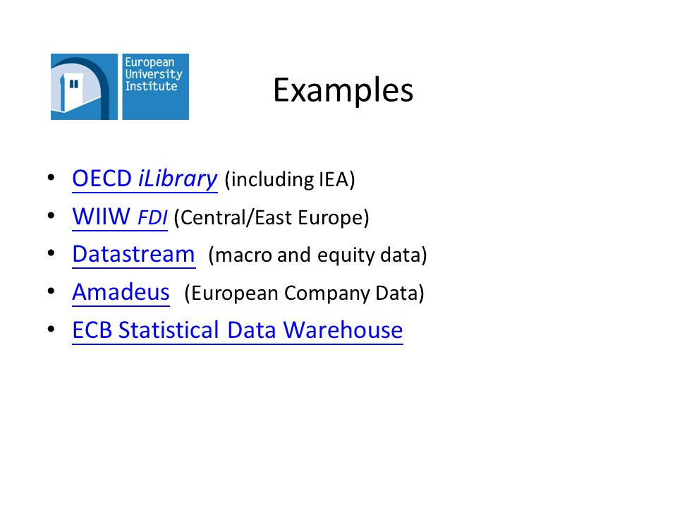 Statistical Data 25 September 2013 econlibrary@eui.eu