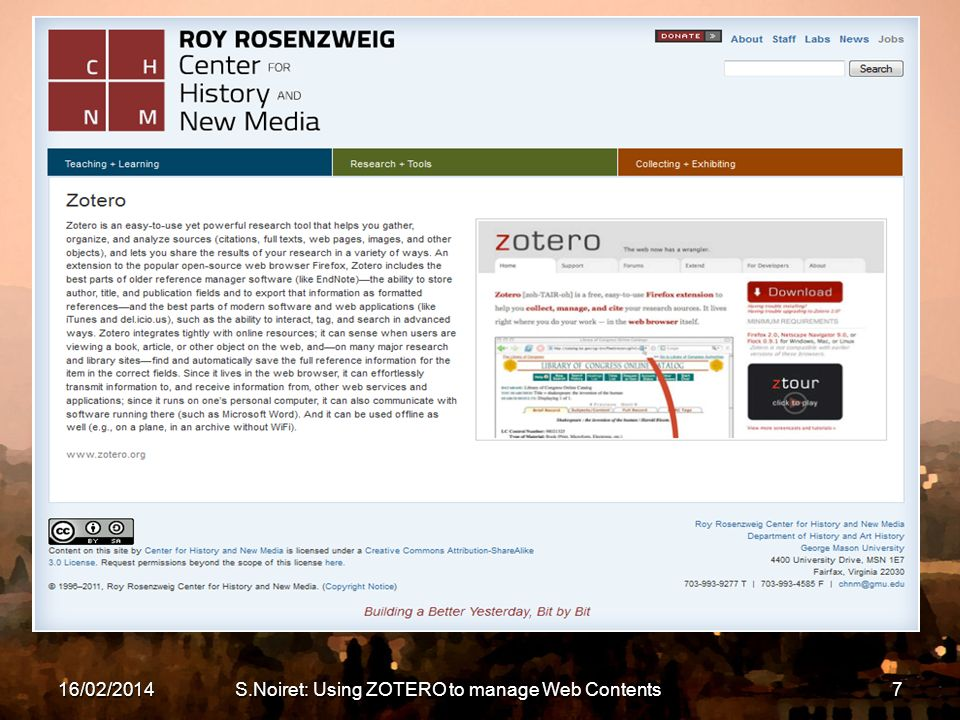 16/02/2014S.Noiret: Using ZOTERO to manage Web Contents7