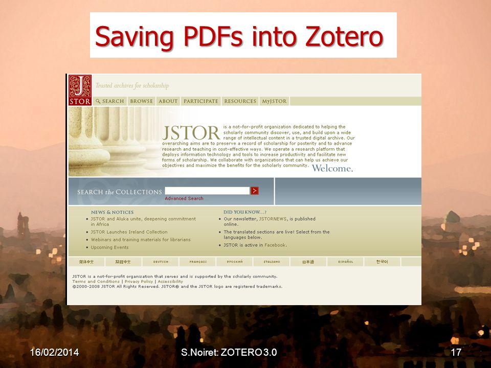 16/02/2014S.Noiret: ZOTERO 3.017 Saving PDFs into Zotero