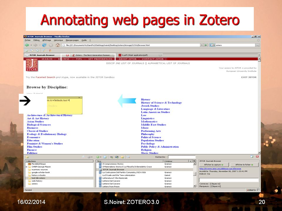 16/02/2014S.Noiret: ZOTERO 3.020 Annotating web pages in Zotero