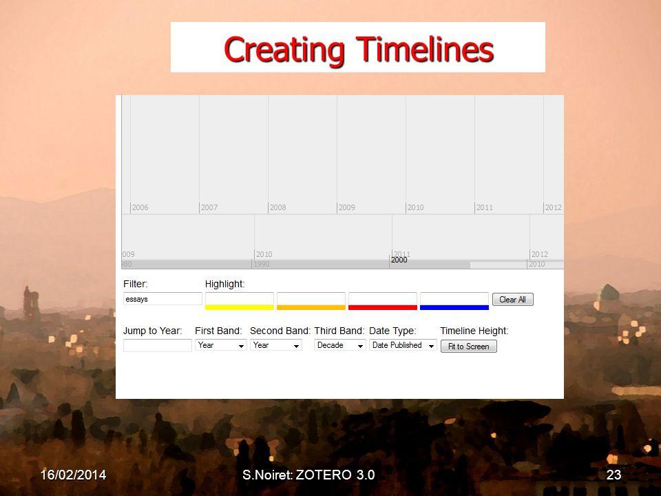 Creating Timelines 16/02/2014S.Noiret: ZOTERO 3.023
