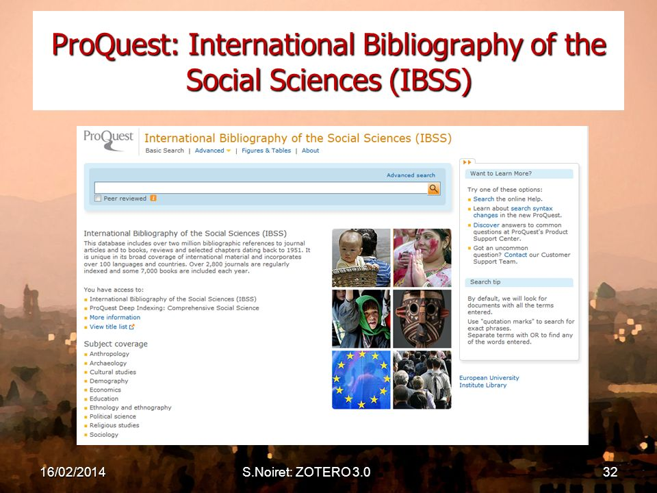 16/02/2014S.Noiret: ZOTERO 3.032 ProQuest: International Bibliography of the Social Sciences (IBSS)